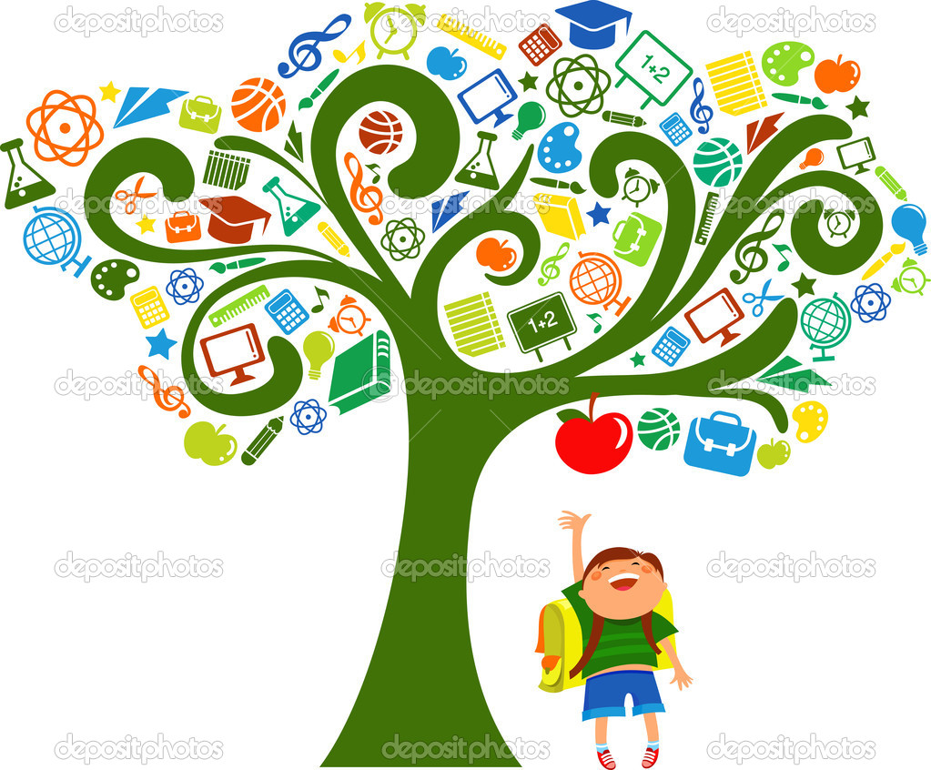 Back to school - tree with education icons, vector — Stockvektor #5989310