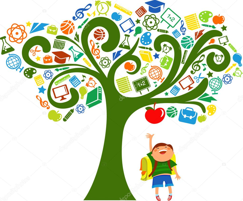 Back to school - tree with education icons, vector  Stockvectorbeeld #5989310