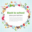 Back to school - background with education icons — Vector de stock #5993180