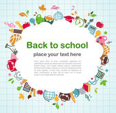 обратно в школу - фон с образования иконки — Cтоковый вектор