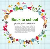 Regreso a la escuela - fondo con los iconos de la educación — Vector de stock