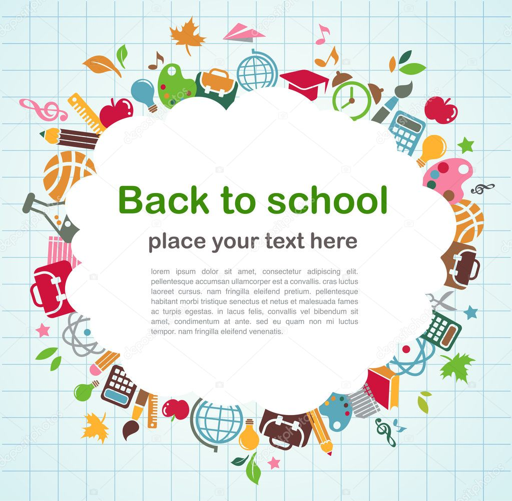 Back to school - frame background with education icons, vector — Stock Vector #5993180