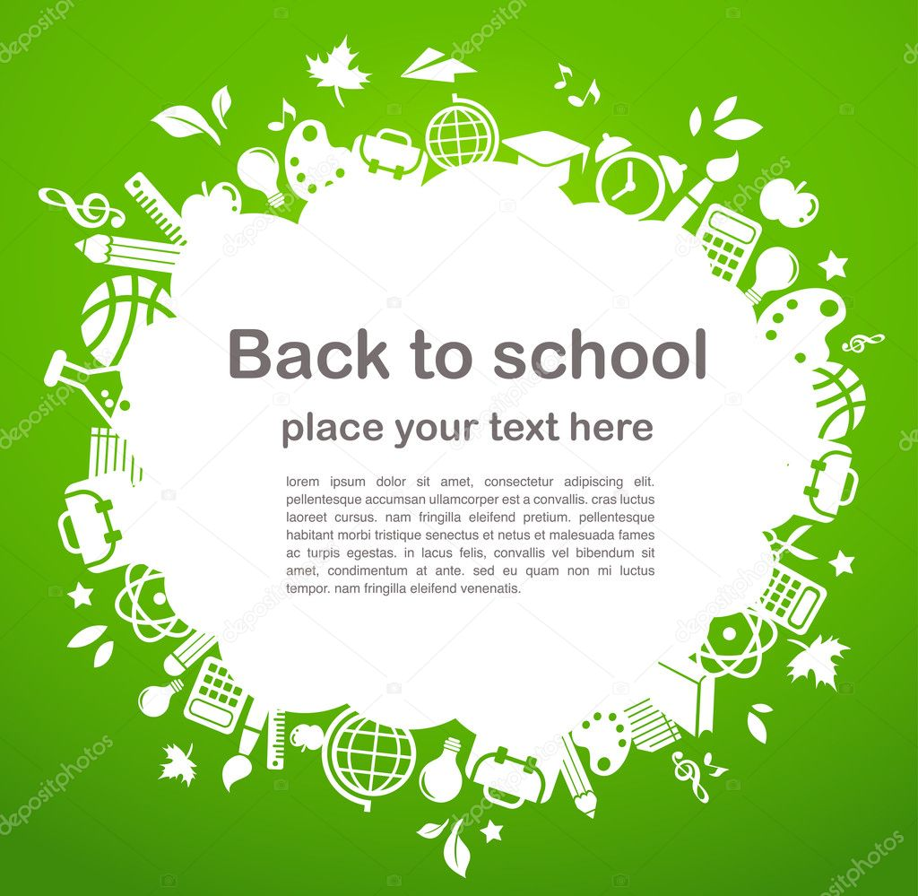 Back to school - frame background with education icons, vector  Stock Vector #5993219