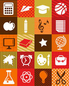 Back to school - background with education icons — Stock Vector