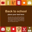 Back to school - background with education icons — Vector de stock