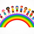 Rainbow with kids, colorful vector illustration — Stock Vector