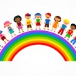 Stock Vector: Rainbow with kids, colorful vector illustration