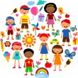 Planet of kids, colorful vector illustration — Vector de stock #6095291