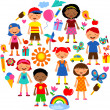 Planet of kids, colorful vector illustration — Stock Vector