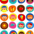 Cute kids pattern with icons, vector illustration — Stock Vector