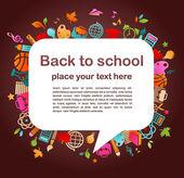 Terug naar school - achtergrond met onderwijs pictogrammen — Stockvector