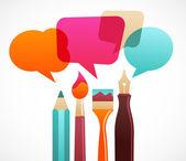 Kunst en schrijfhulpmiddelen met toespraak bubles — Stockvector