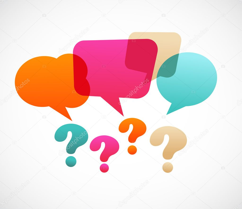 Question mark with speech bubles, vector on the abstract background — ベクター素材ストック #6152121