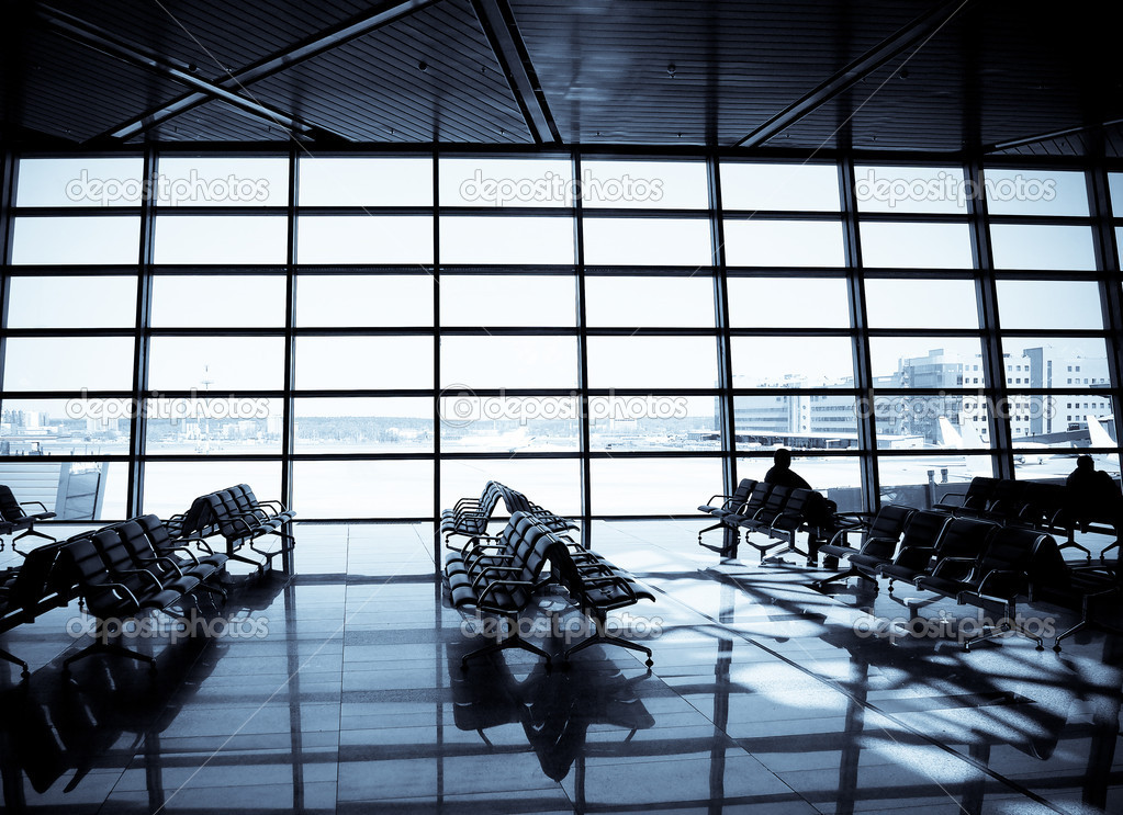 At a modern airport, departure lounge  Stock Photo #5915406