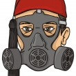 Stock Vector: Greek evzone head with gas mask