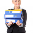 Happy mature business woman's holding documents. — Stock Photo #5385866
