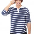 A handsome happy man using mobile phone. — Stock Photo