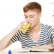 图库照片: Student drink diet supplement