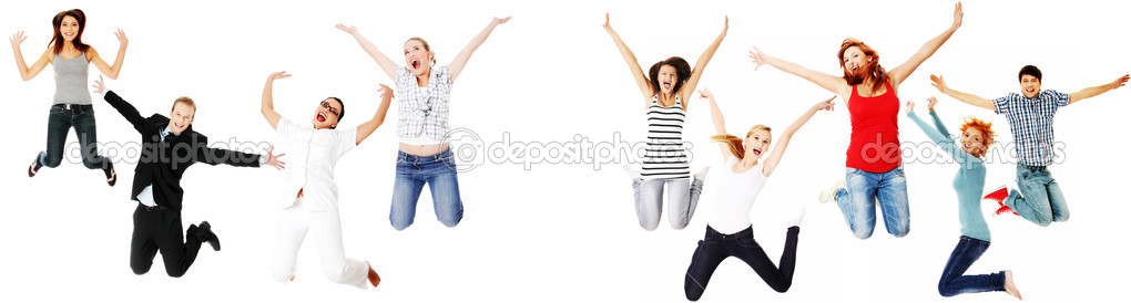 Jumping happy , isolated on white background — Stock Photo #5794983