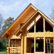 Ecological wooden cottage — Stock Photo