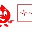 Smiling drop of blood and ecg chart — Stock Photo