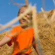 Boy stands on a large haystack — Stock Photo #5460014