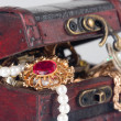 Brown chest with treasures — Stock Photo