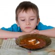Boy refuses to eat soup — Stock Photo #5603123