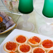 Tartlets with red caviar — Stock Photo #5603254
