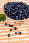 Fresh berries in a wicker basket — Stock Photo