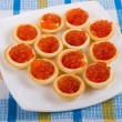Stock Photo: Tartlets with red caviar