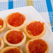 Tartlets with red caviar — Stock Photo #6521501