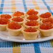 tartlets with red caviar — Stock Photo