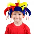 Funny boy in the clown hat — Stock Photo