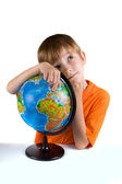 Boy with globe — Stock Photo