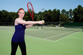 Woman Playing Tennis — Stockfoto