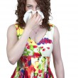 Woman Blowing Her Nose — Stock Photo