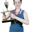 Woman with Trophy — Stock Photo