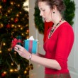 Beautiful Woman Holding Gift — Stok fotoğraf
