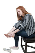 Woman with Sore Feet — Stock Photo
