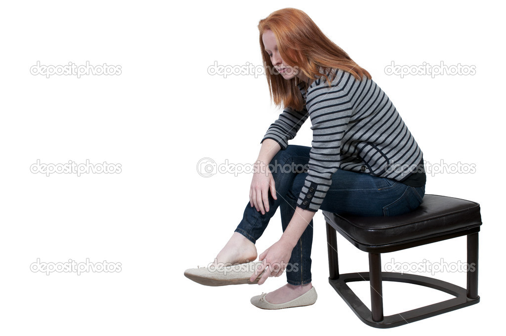 Beautiful Woman Putting on Her Shoes — Stock Photo ...