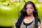 African American Teenager and Granny Smith Apple — Stock Photo