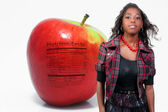 African American Teenager Apple Nutrition Facts — Stock Photo