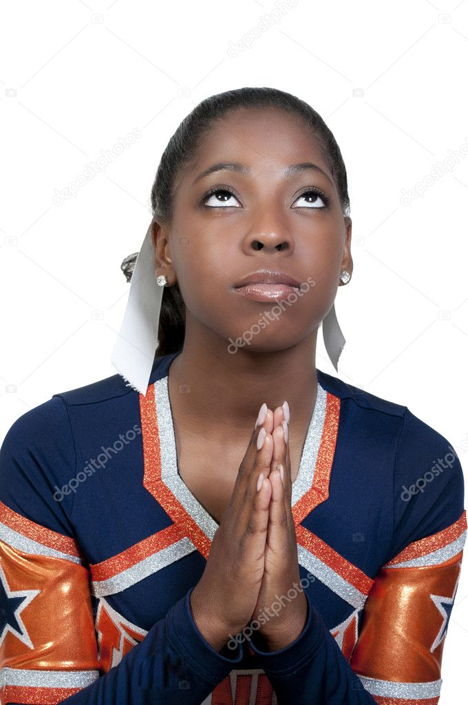 A young teenage black african American cheerleader — Stock Photo #5684307