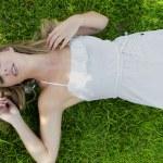 Beautiful Woman in Grass — Stock Photo #5892780
