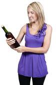 红酒的女人 — 图库照片