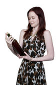 Kvinna med vin — Stockfoto