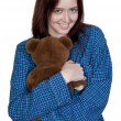 Woman with Teddy Bear - Stock Photo