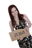 Woman Holding Jesus Sign — Stock Photo