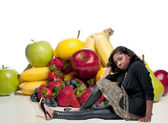 Woman Sitting with Assorted Fruits — Stock Photo